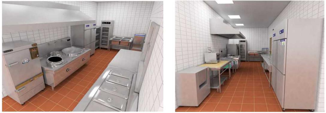 政企食堂厨房效果图