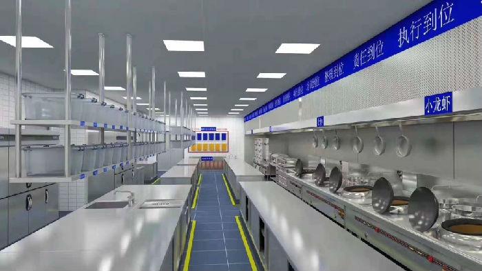 餐饮厨房工程3d图