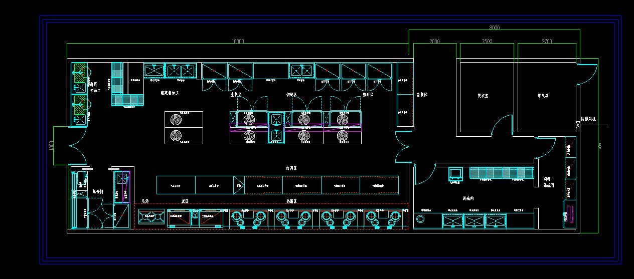 酒店厨房工程布局图